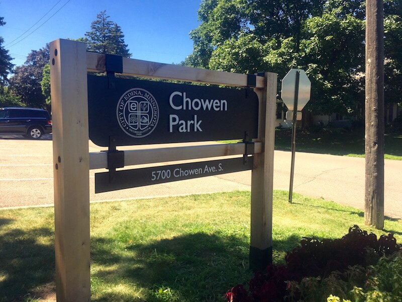 Sign of Chowen Park in Edina, Minnesota