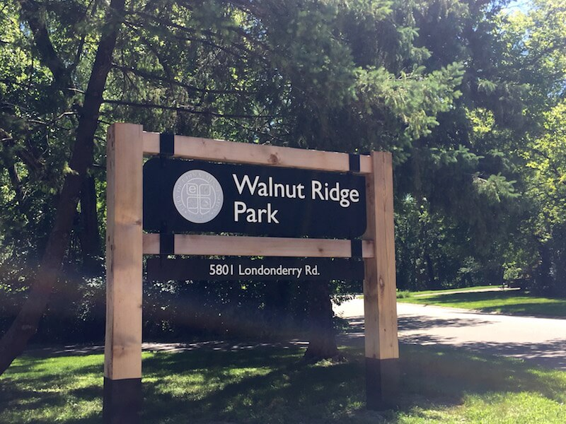 Sign of Walnut Ridge Park in Edina, Minnesota