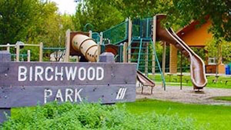 Sign of Birchwood Park in St. Louis Park, MInnesota