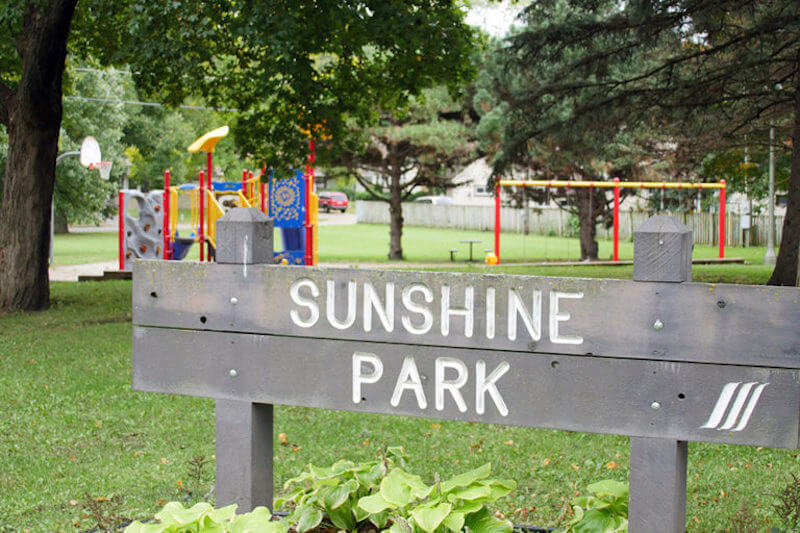 Sign of Sunshine Park in St. Louis Park, Minnesota