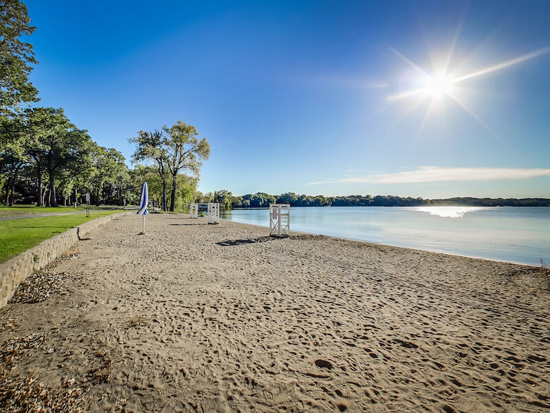 Beach in Bryant Lake Park in Eden Prairie, Minnesota