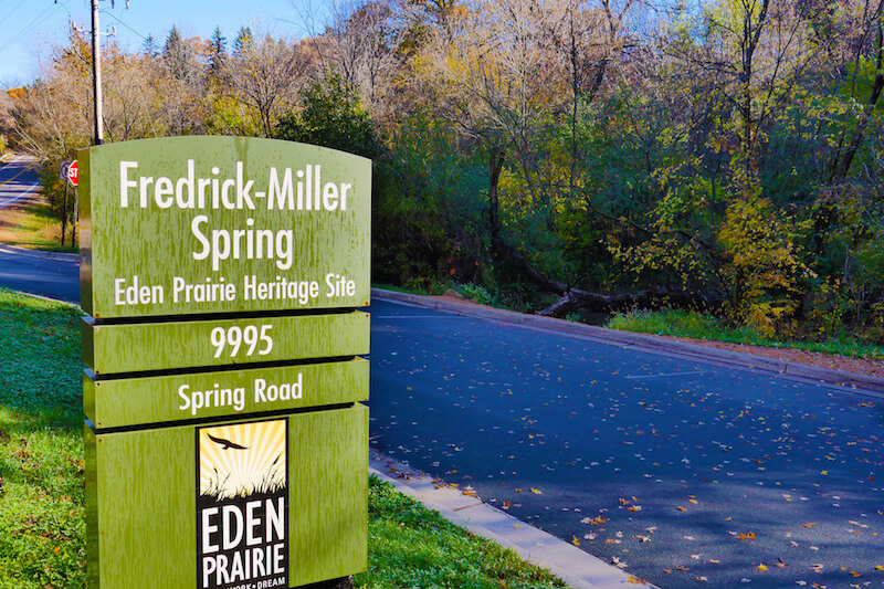 Sign of Fredrick-Miller Spring in Eden Prairie, Minnesota