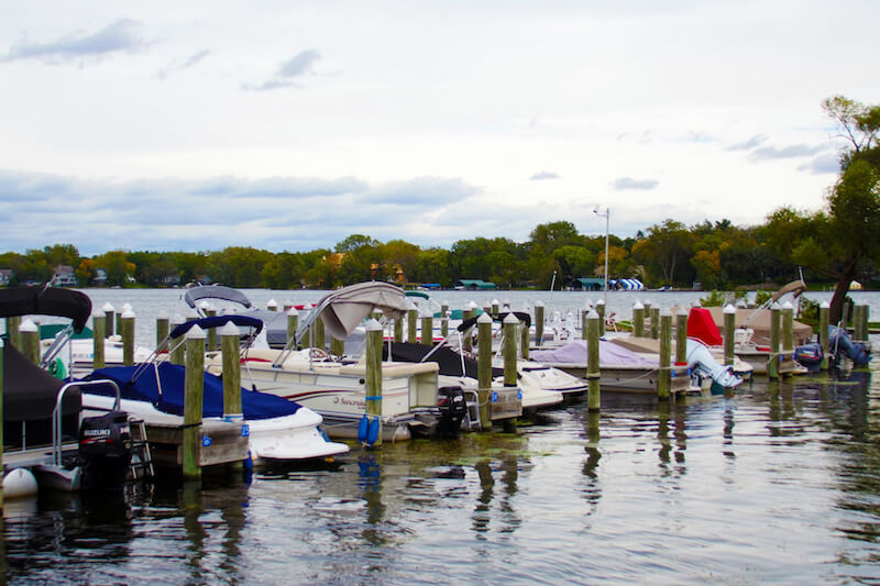Boats moored at the Gray's Bay Docks