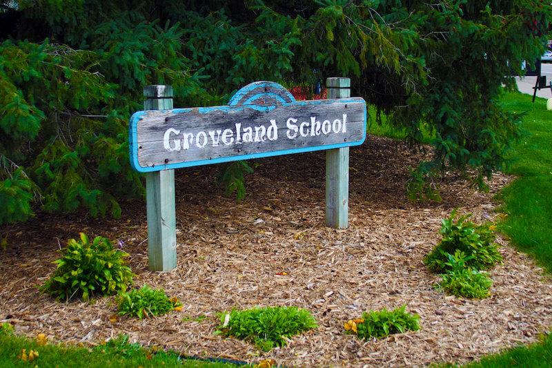 Sign of Groveland School in Minnetonka