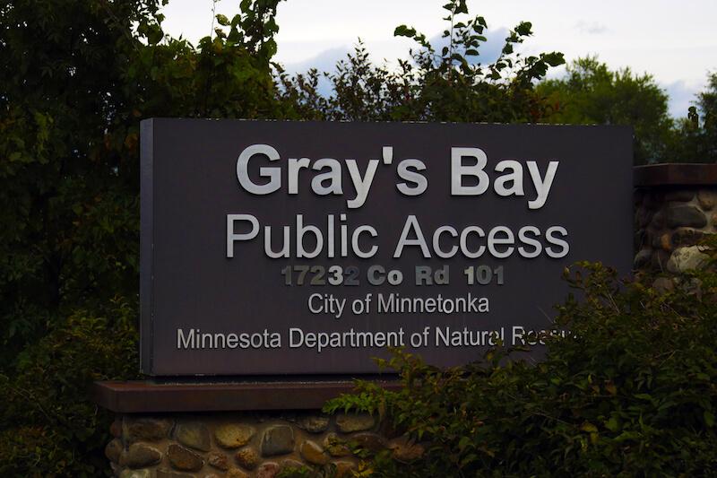 Sign of Gray's Bay Public Access in Minnetonka