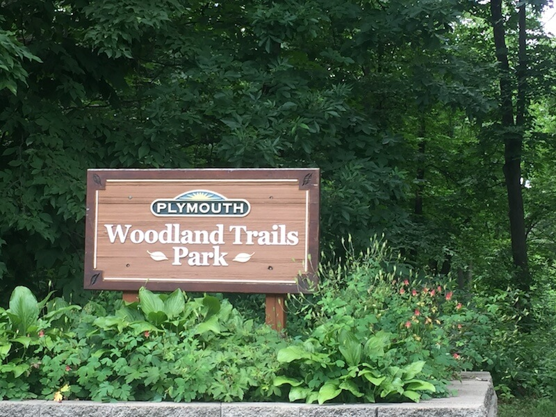 Woodland Trails Park Sign in Plymouth, Minnesota