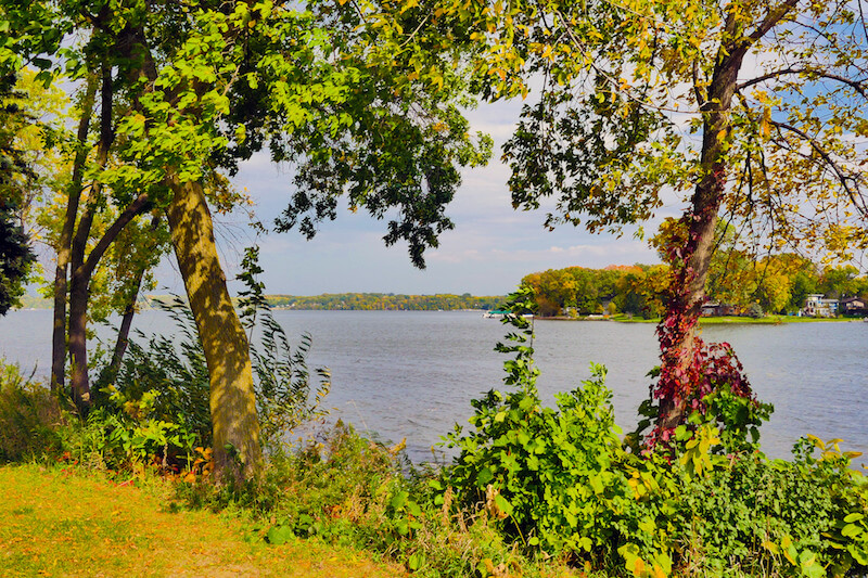 View of Medicine Lake from West Medicine Lake Park in Plymouth, Minnesota
