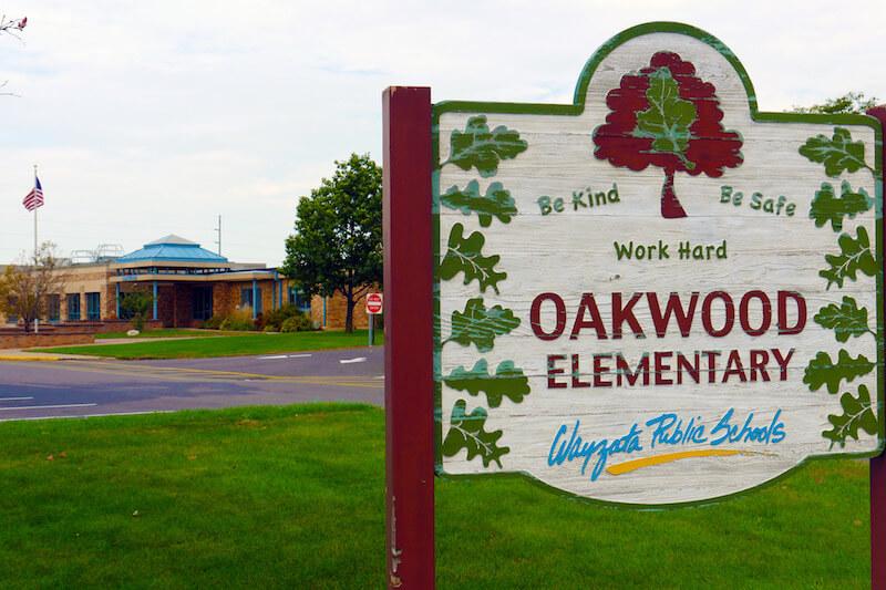Oakwood Elementary School sign in Plymouth, Minnesota