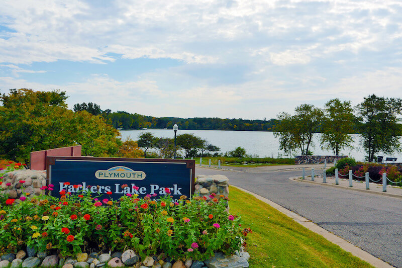 Parkers Lake Park sign in Plymouth, Minnesota