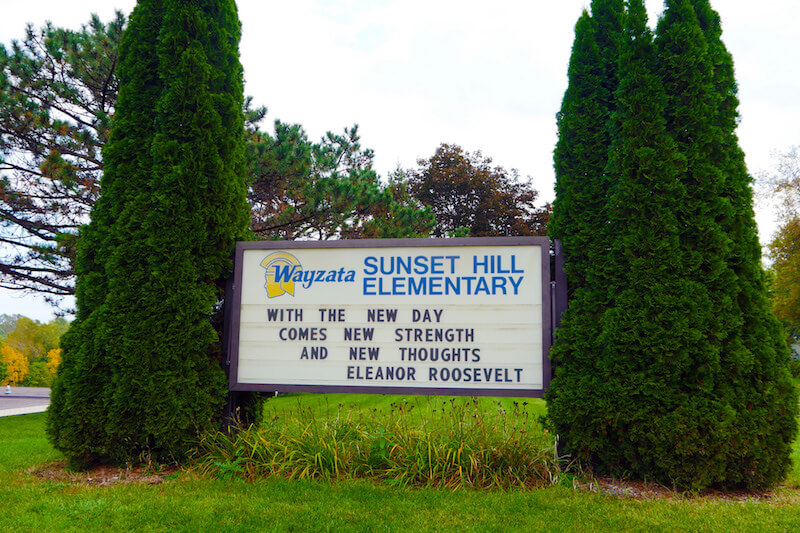 Sunset Hill elementary School sign in Plymouth, Minnesota