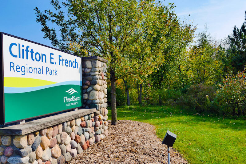 Sign of Clifton E. French Park in Plymouth, Minnesota