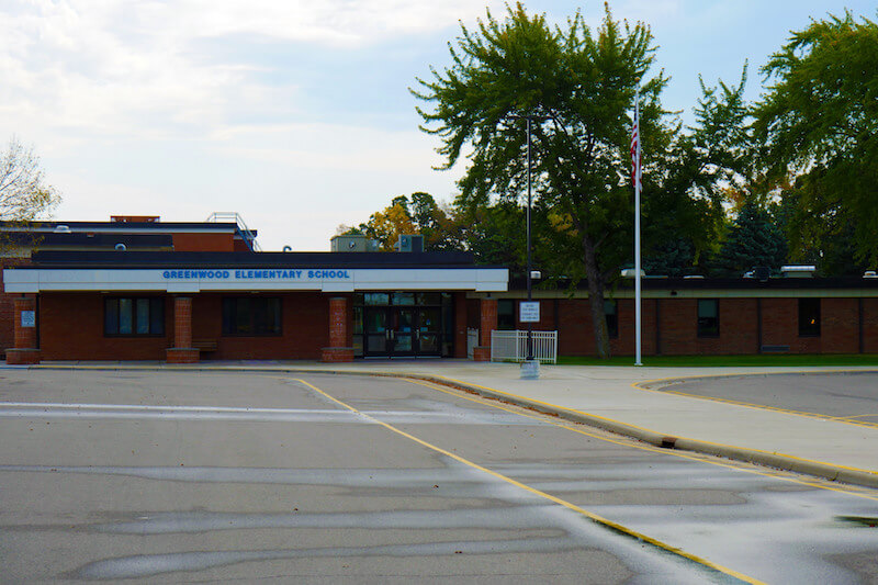 Entrance to Greenwood Elementary School in Plymouth, Minnesota