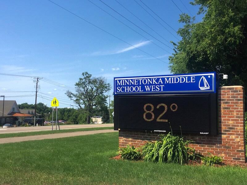 Sign of Middle School West School in Minnetonka, Minnesota